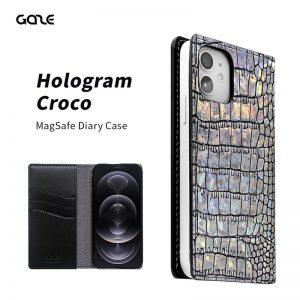 【iPhone 12 / iPhone 12 Pro】Hologram Croco MagSafe対応ダイアリーケース【ホログラム/クロコダイル型押し】
